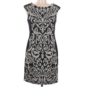 Julian Taylor Black and Grey Damask Print Dress 6